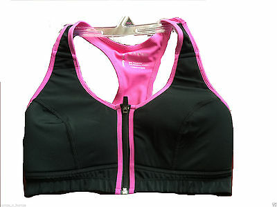 New High Impact Zip Up Front Fastening Sports Bra 34/36/38/40/42 B,Cd,Dd
