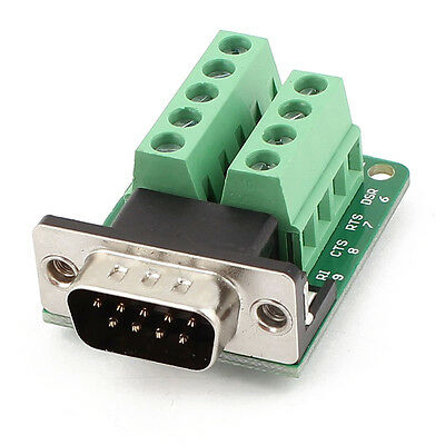 DB9 D-SUB 9 Pin Male Adapter RS232 to Terminal Connector Signal Module Green T1