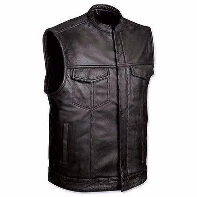 MENS MOTORCYCLE SOA OPEN COLLAR COWHIDE LEATHER VEST w/ TWO GUN POCKETS