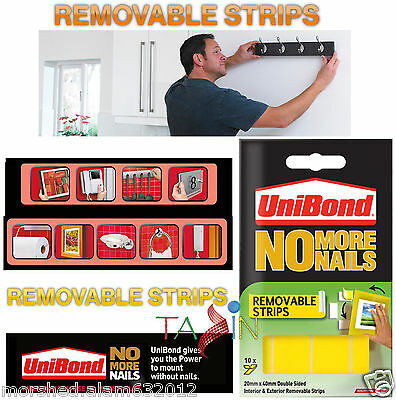 Unibond No More Nails- Removable or Permanent Strips Double Sided Tape Adhesive