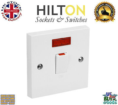 HILTON White Plastic 20Amp Double Pole Switch with Neon ***Best Quality***