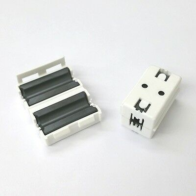 Lot of 2 NEW White Snap On EMI RFI Ferrite Cores for RG8X, 58, 59 & LMR240 Coax