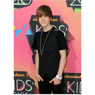 Justin Bieber Standing with Hands in Pockets in Black Smiling 8 x 10 Inch Photo