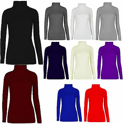Women Ladies Turtle Polo Roll Neck Long Sleeve Plain T Shirt Jumper Top Stretch
