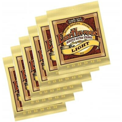 6 x Ernie Ball 2004 Earthwood 80/20 Bronze Light Acoustic Guitar Strings 11 - 52