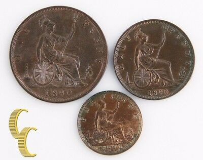 1890 Great Britain 3 Coin Lot (Uncirculated UNC) Half Penny Farthing 753 754 755