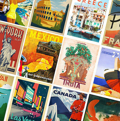 VINTAGE TRAVEL POSTERS - A4 - A3 - A2 - Retro Prints - Home / Wall Art Decor