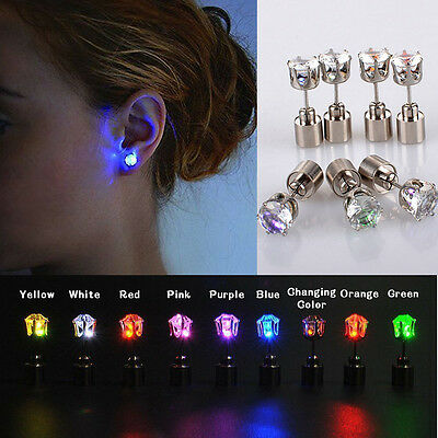 LED Glowing Light Up Earrings Change Color Studs Halloween Xmas Party Accessory