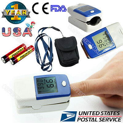 With Case Finger Pulse Oximeter LCD SpO2 Blood Oxygen PR Heart Rate Oxymeter