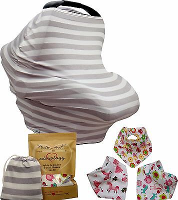 Baby Car Seat Canopy Infant Nursing Cart Stroller Cover Bandana Drool Bib Girls