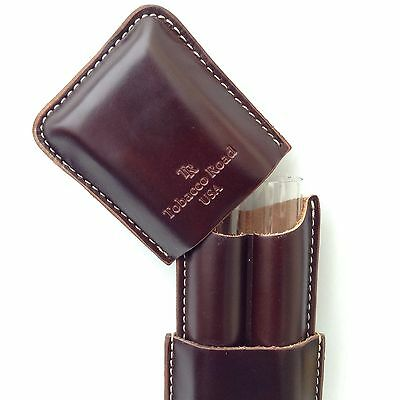 Tobacco Road 2 Finger BROWN Cigar Case - Made in USA - PREMIUM AMERICAN LEATHER