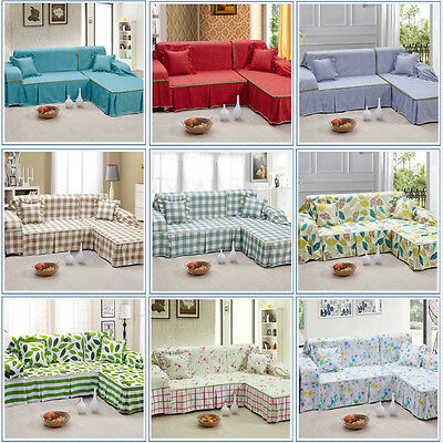 Home Furniture Sofa Couch Cover Protector Slipcovers 1/2/3/4 Seater Cotton Blend
