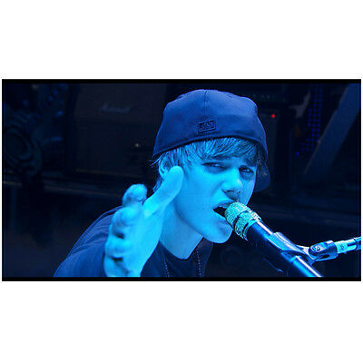 Justin Bieber Singing Holding Hand Out Blue Hue 8 x 10 Inch Photo