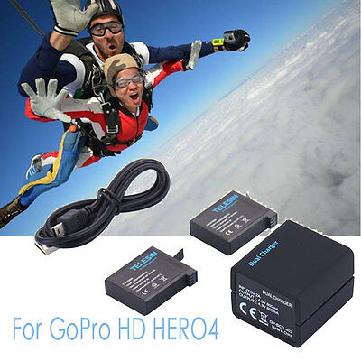 Battery For GoPro HD HERO4 + 2 Pcs AHDBT-401 + Dual Charger 5V 2A