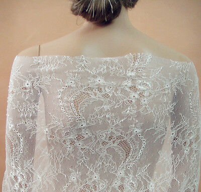 White Chantilly Bridal Fl Lace Fabric 59 Wide For Wedding Dress 1 2 Yard
