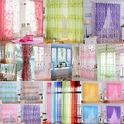 Colorful Floral Tulle Voile Door Window Curtain Drape Panel Sheer Scarf Valances