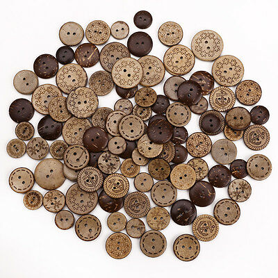 50 x Round Natural Wooden 2 Hole Sewing Coconut Button Sewing Scrapbooking
