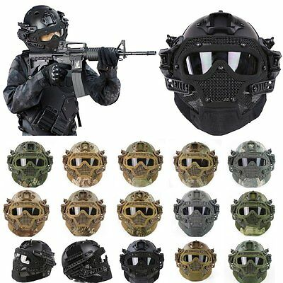 Tactical Fast Helmet G4 Full Face Mask Goggles with Rail Airsoft Paintball Guard