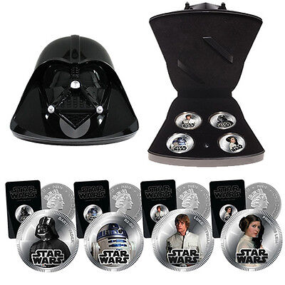 New Star Wars 4 Silver Plated Coins DARTH VADER Collectable SFX Case Toy Gift