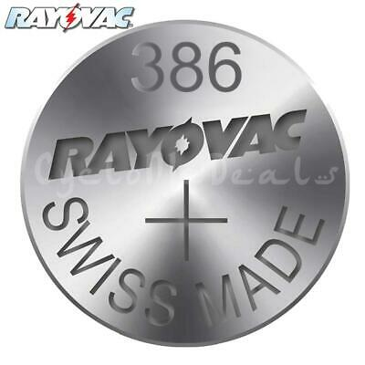 RAYOVAC 386 SR43W Lithium Battery Swiss Watch Silver Oxide Cell 1.55V X 1,5,10