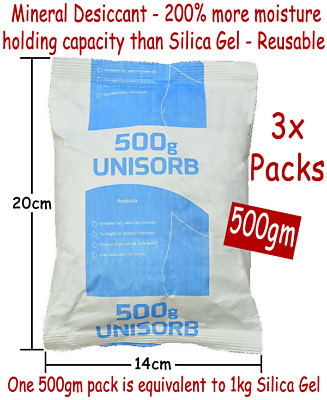 3x 500gm 250% more absorbent than Silica Gel Mineral Desiccant Moisture Absorber