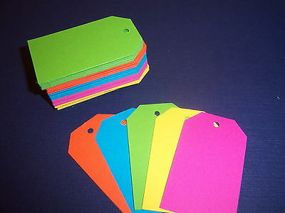 100 Blank Gift Tags - Bright NEONS - Merchandise Price Tags 1.5 x 2.5 in