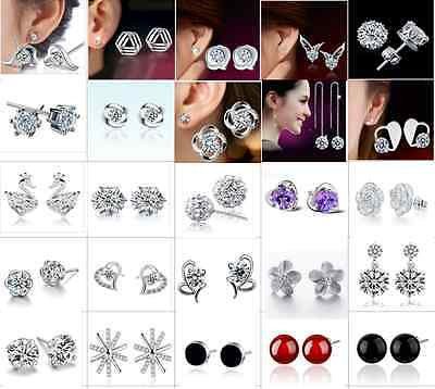 Wholesale 925 Sterling Silver Crystal Earrings Ear Stud Women Fashion Jewelry