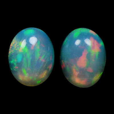 2.03Cts Natural White Yellow Ethiopian Opal Pair Top Fire Gemstone Oval Cabochon