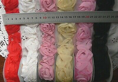 Rosette Flower Arrangement on Net - 1 yard 6 Colours 35-40mmWide MultiList BRTop