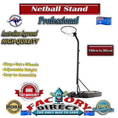 Professional Portable Adjustable Netball Ring Stand with Wheels 190cm to 305cm