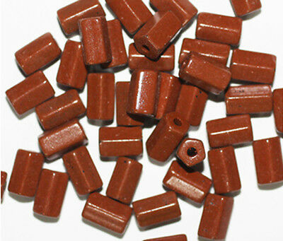 Brown Hex Tube Czech Pressed Glass Beads 10mm (pack of 40)