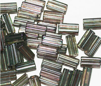 Gray Tube Czech Pressed Glass Beads 10mm (pack of 50)