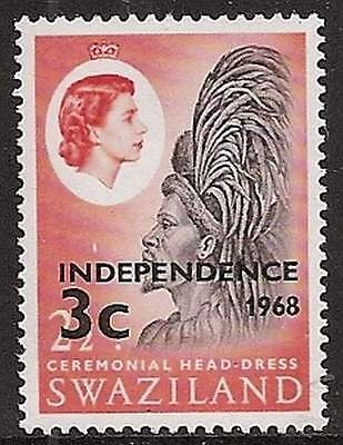 Swaziland 1968 Independence 3c on 2½c inverted watermark