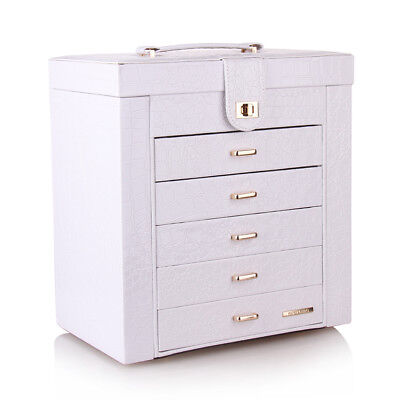 Large White Jewllery Box Armoire Cabinet Display Birthday Gift Ring Organiser