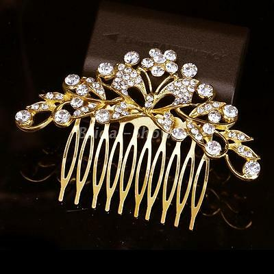 Gold Plated Bridal Crystal Diamante Butterfly Hair Comb Slide Clip Wedding Party