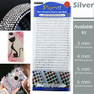 Silver Self Adhesive Clear Diamante Stick On Crystal Sticky Rhinestone Gems