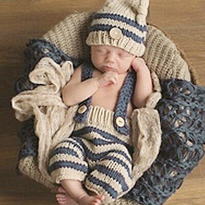 Cute Newborn Baby Girls Boys Crochet Knit Costume Photo Photography Prop Outfit