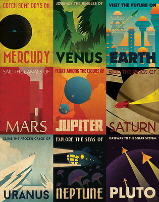 "007 Space Exploration - Retro Planetary Travel Art Print  24""x30"" Poster"