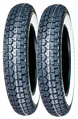 Pair Of 300-10 Scooter Whitewall Tyres - Lambretta Vespa Front / Rear Fitting
