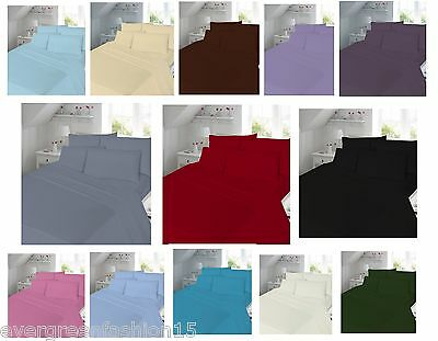 Luxury Extra Deep 40cm Fitted sheets Plain dyed Single,Double,King S. king