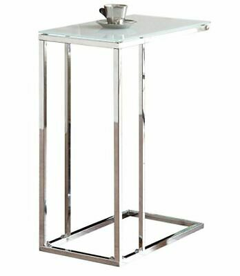 Chrome Snack Table with Frosted Tempered Glass Top by Coaster 900250