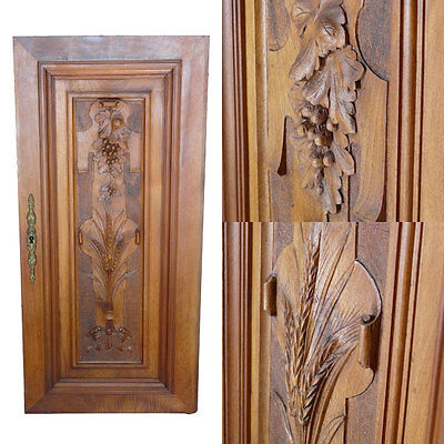 French Antique Hand Carved Walnut Wood Panel Architectural Cabinet Door Wine 2