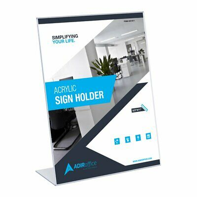 "AdirOffice Clear Acrylic Slant Back Sign Holder 8.5"" X 11"" 24 Pack"