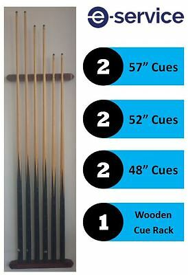 """POOL SNOOKER 6 CUE HOLDER WOODEN RACK with 6 Cues, 57"""" 52"""" 48"""""""