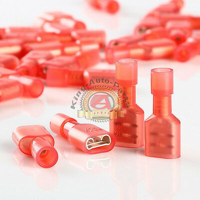 """FEMALE FULLY INSULATED QUICK DISCONNECT TERMINAL NYLON .25"""" RED 22-16awg 100PK"""