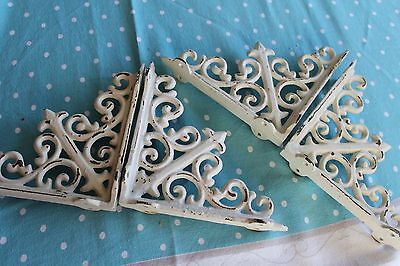 """4 Shelf Support Brackets 6 X 6"""" Shabby Old Victorian Vintage Rustic Cast Iron"""
