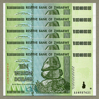 Zimbabwe 10 Trillion Dollars x 5 pcs AA 2008 P88 consecutive UNC currency bills