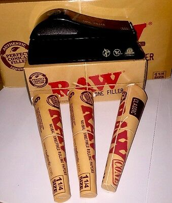 *new Raw Rolling Papers 1 1/4 Size Cone Filler Combo