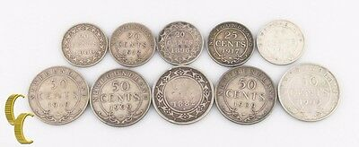 1882-1919 Canada Newfoundland Cents Lot (VG-VF, 10 coins) 20c 25c 50c Silver