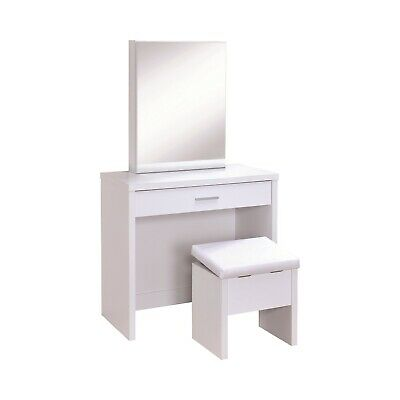 Contemporary White Vanity Table and Stool Set with Storage by Coaster 300290